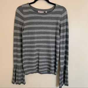 Grey striped sweater bell sleeves super soft